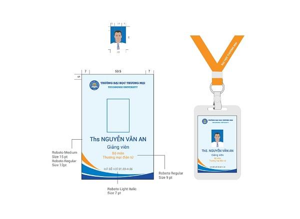 Thẻ nhân viên trường Đại học Thương Mại do CBM Branding thiết kế