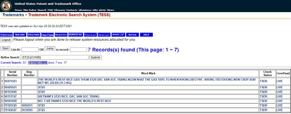 Gạo ST25 có hồ sơ đăng ký bảo hộ nhãn hiệu tại Mỹ
